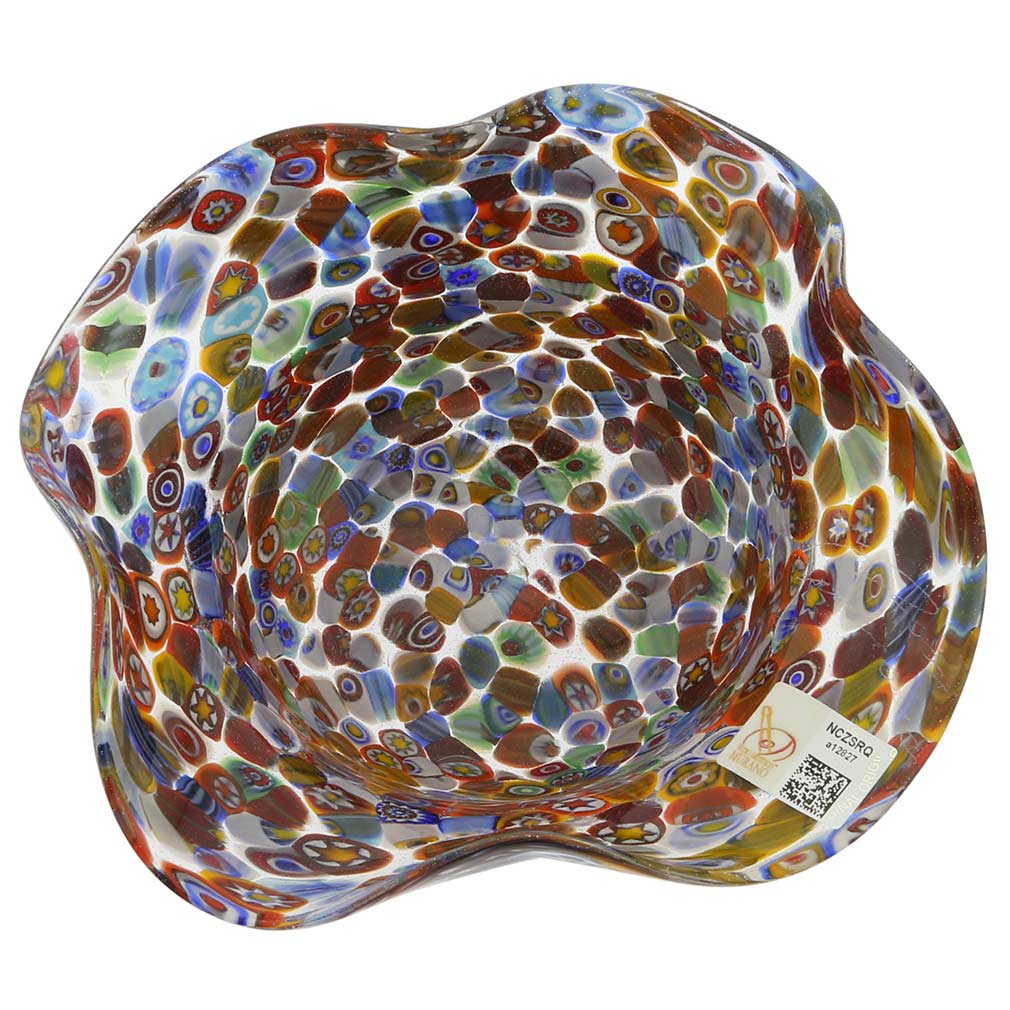 Murano Millefiori Art Glass Fazzoletto Bowl