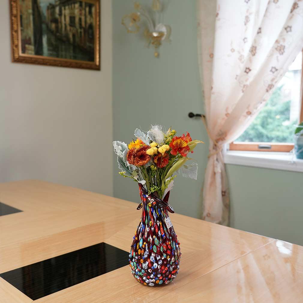 Murano Millefiori Mosaic Blooming Flower Vase - Red