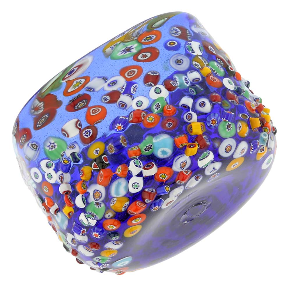 Murano Glass Millefiori Mosaic Bowl - Blue
