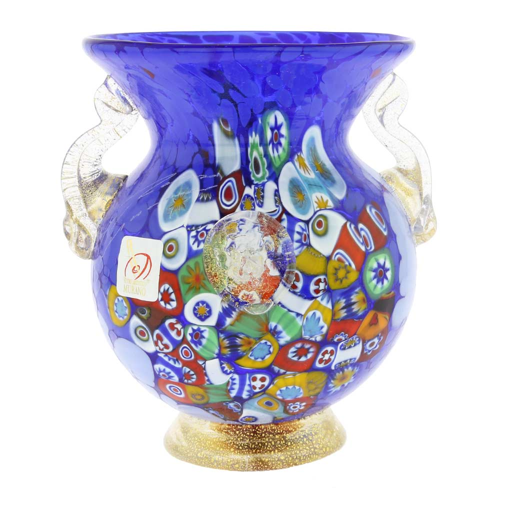 murano glass vases murano glass millefiori urn vase with lion heads blue. Black Bedroom Furniture Sets. Home Design Ideas