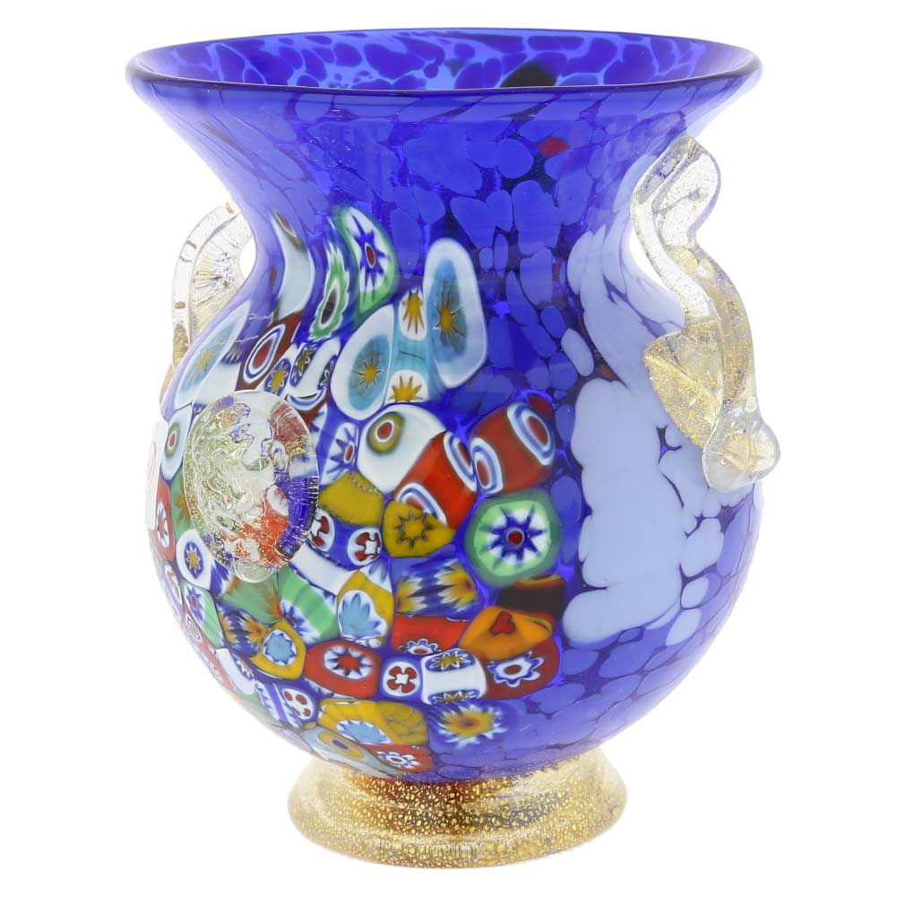 Murano Glass Millefiori Urn Vase With Lion Heads - Blue