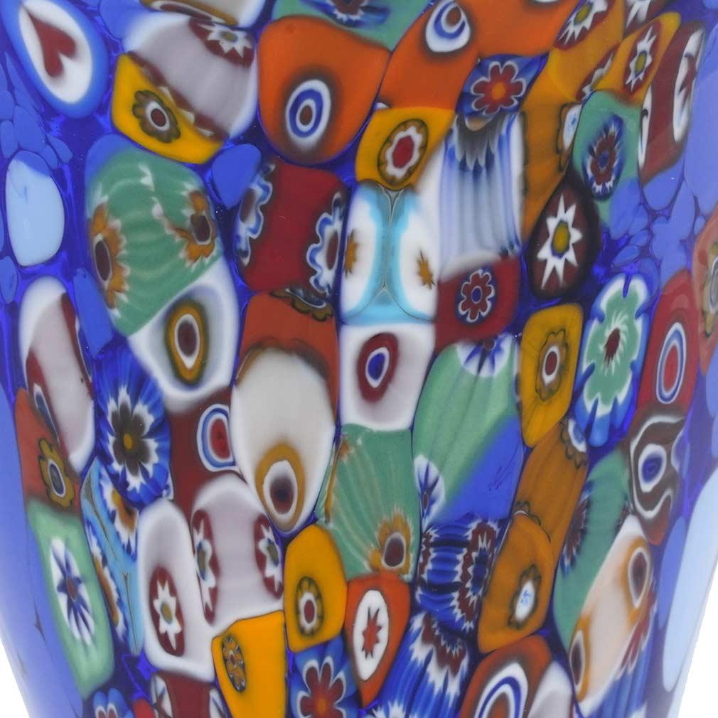 Murano Millefiori Horn Of Plenty Vase - Blue