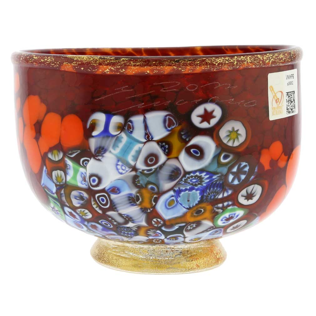 Murano glass vases murano millefiori art glass bowl red murano millefiori art glass bowl red floridaeventfo Gallery
