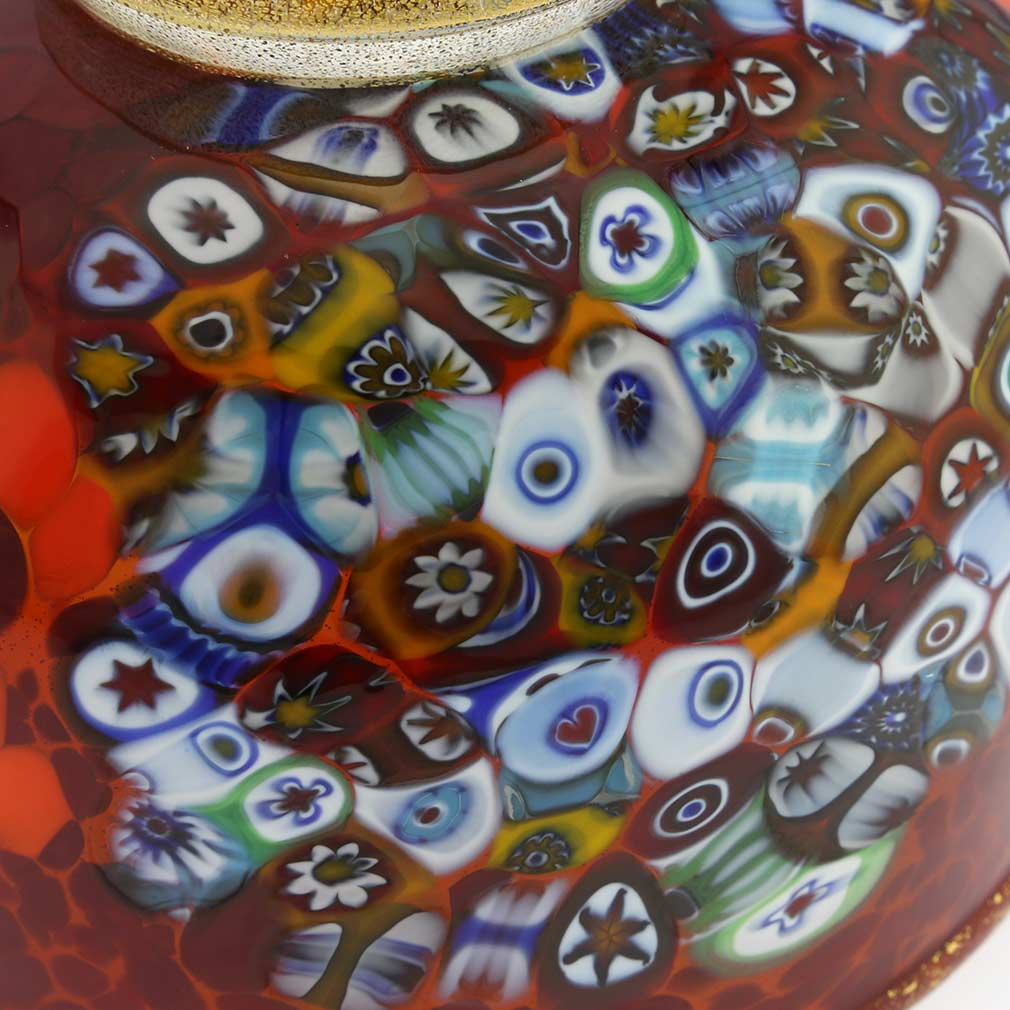 Murano Millefiori Art Glass Bowl - Red