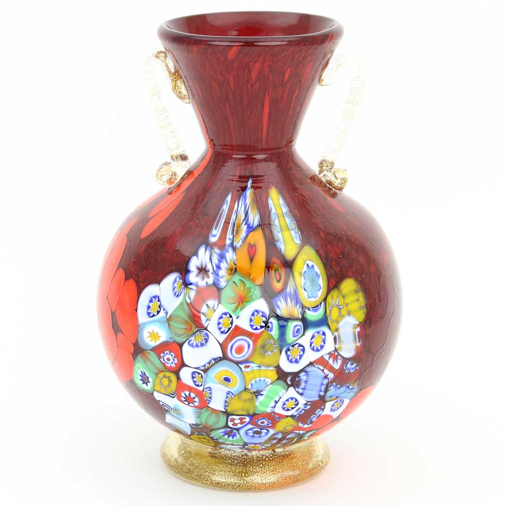 Murano Art Glass Millefiori Vase With Golden Handles - Red