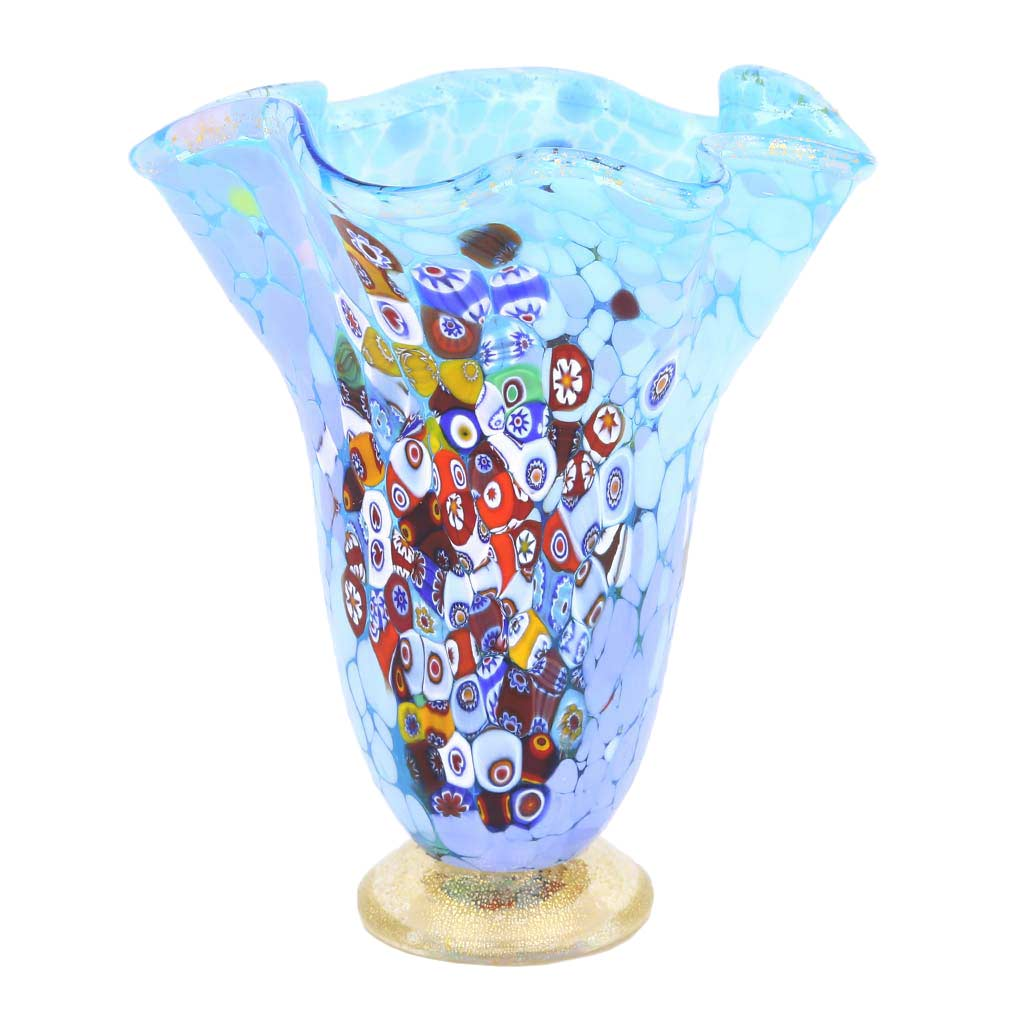 murano glass vases murano millefiori art glass fazzoletto vase aqua. Black Bedroom Furniture Sets. Home Design Ideas