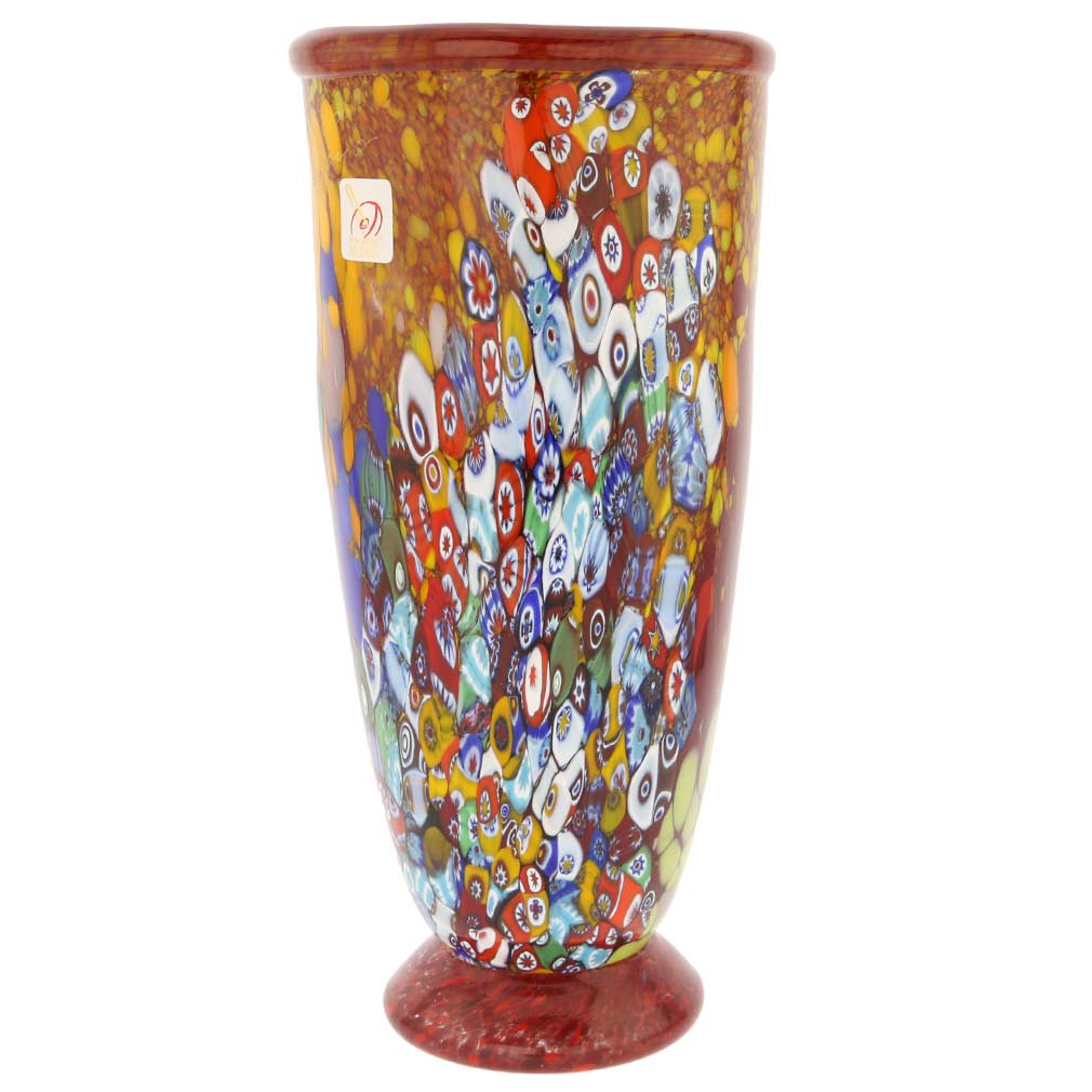 murano glass vases murano millefiori art glass vase ruby red. Black Bedroom Furniture Sets. Home Design Ideas