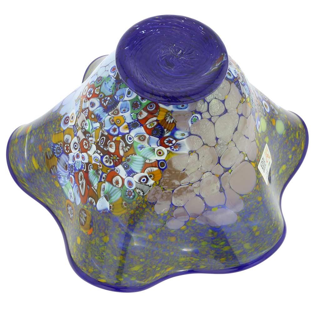 Murano Millefiori Fazzoletto Bowl - Cobalt Blue