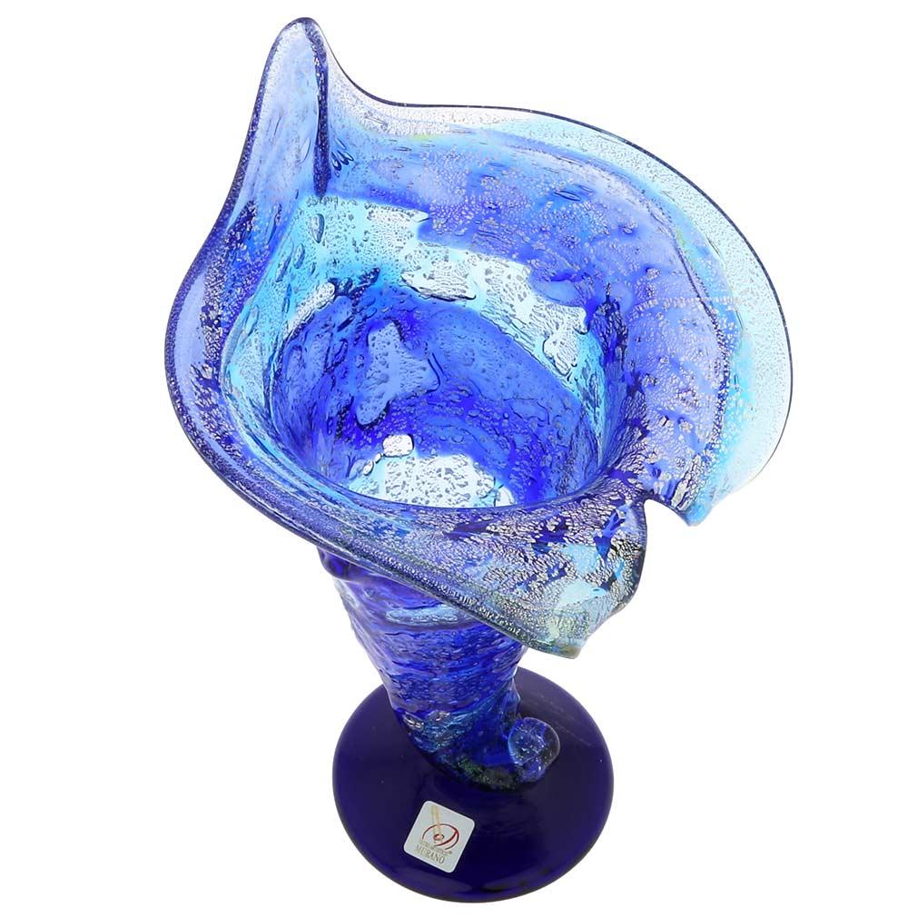 murano glass vases murano sbruffo horn of plenty vase blue. Black Bedroom Furniture Sets. Home Design Ideas