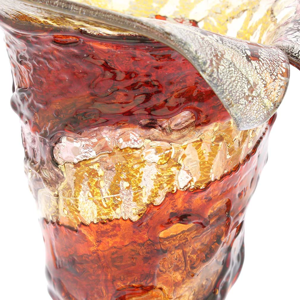 Murano Sbruffo Horn Of Plenty Vase - Amber Red