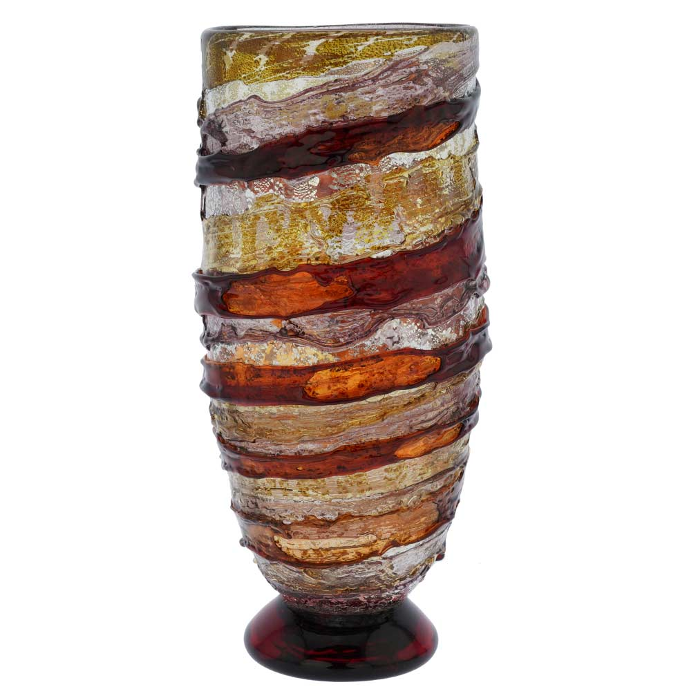 Murano Sbruffo Vase - Golden Brown Purple