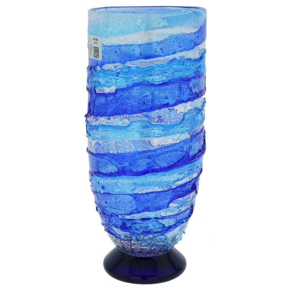 Murano Sbruffo Vase - Aqua Blue