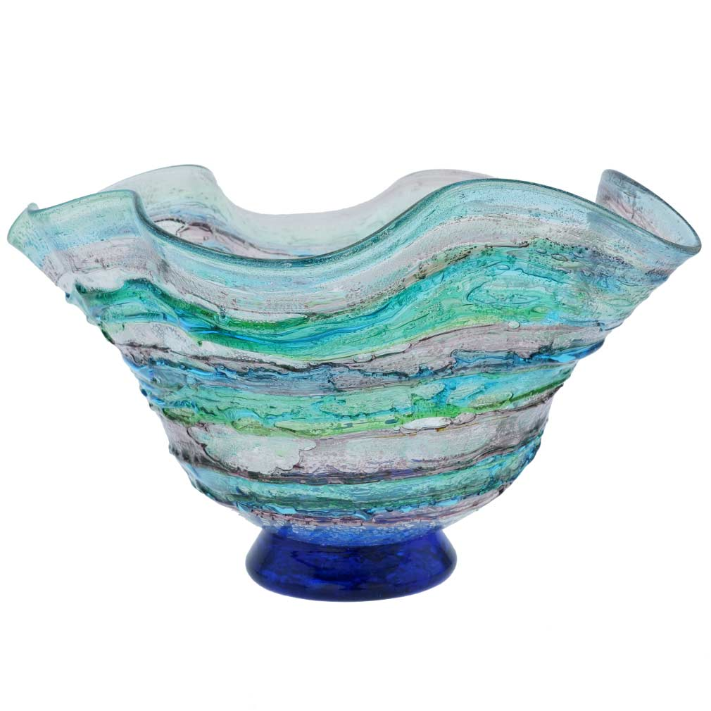 Murano Sbruffo Fazzoletto Bowl - Green Aqua Purple