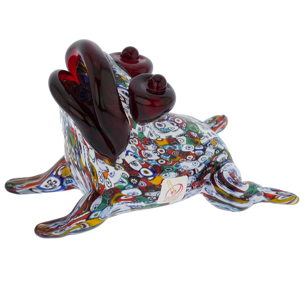 Murano Art Glass Millefiori Frog Sculpture