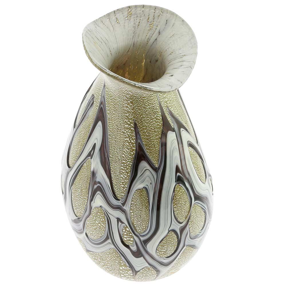 Murano Art Glass Silver Vase - Purple Web