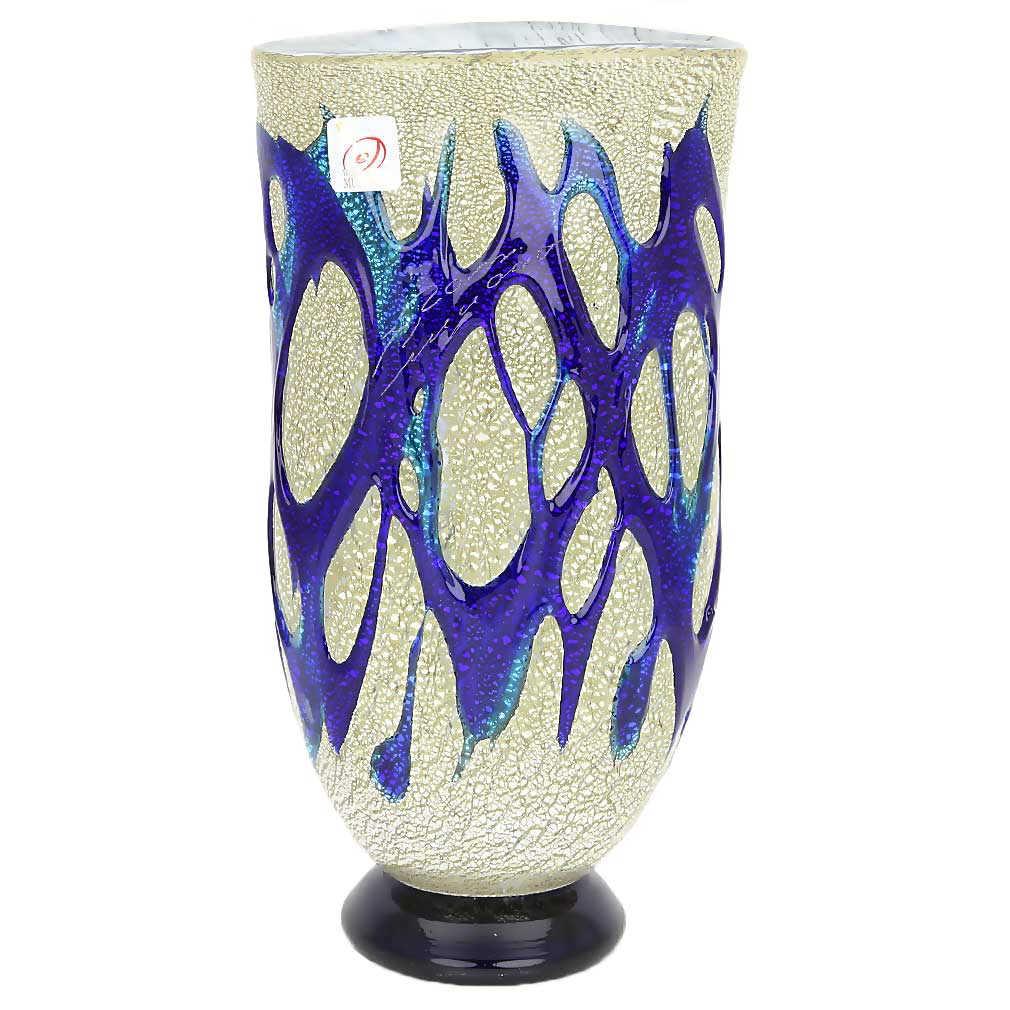 Murano Art Glass Silver Vase - Blue Web