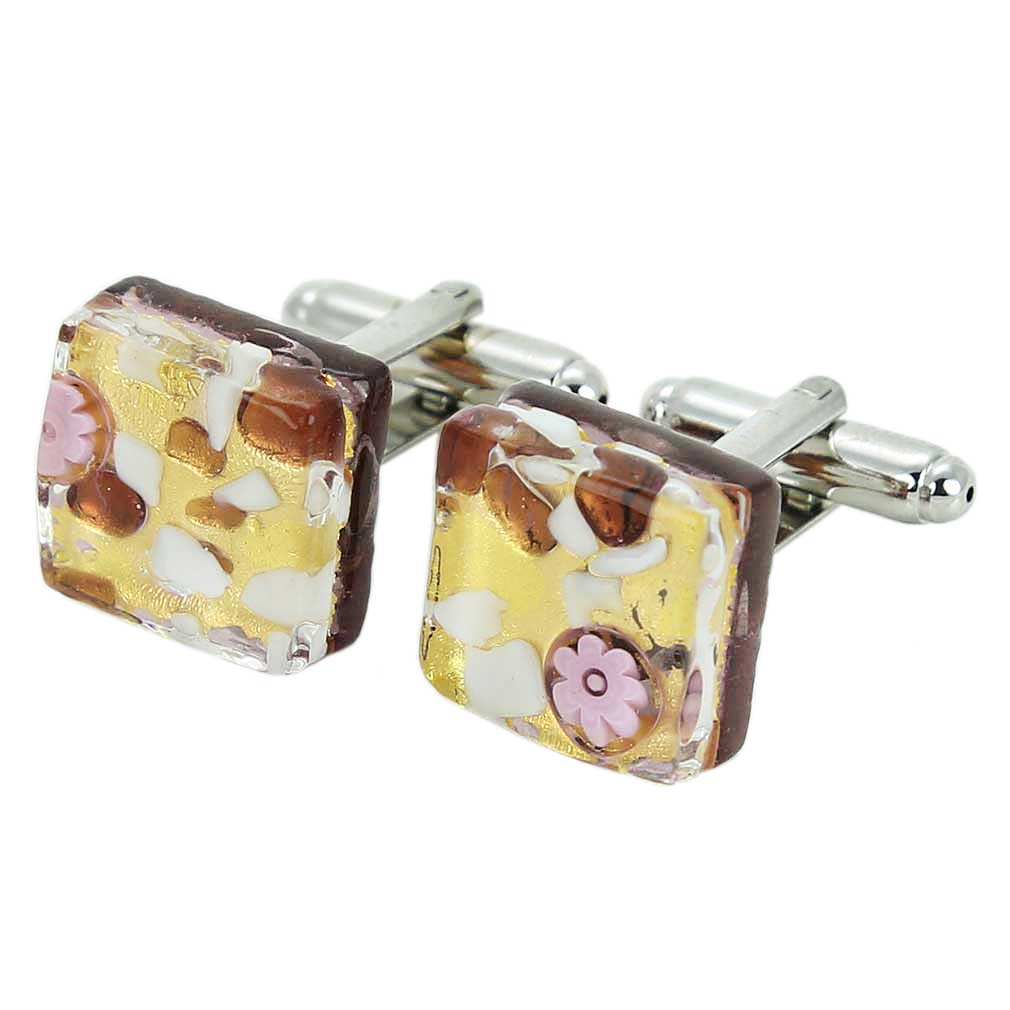 Venetian Classic Square Cufflinks - Purple Gold