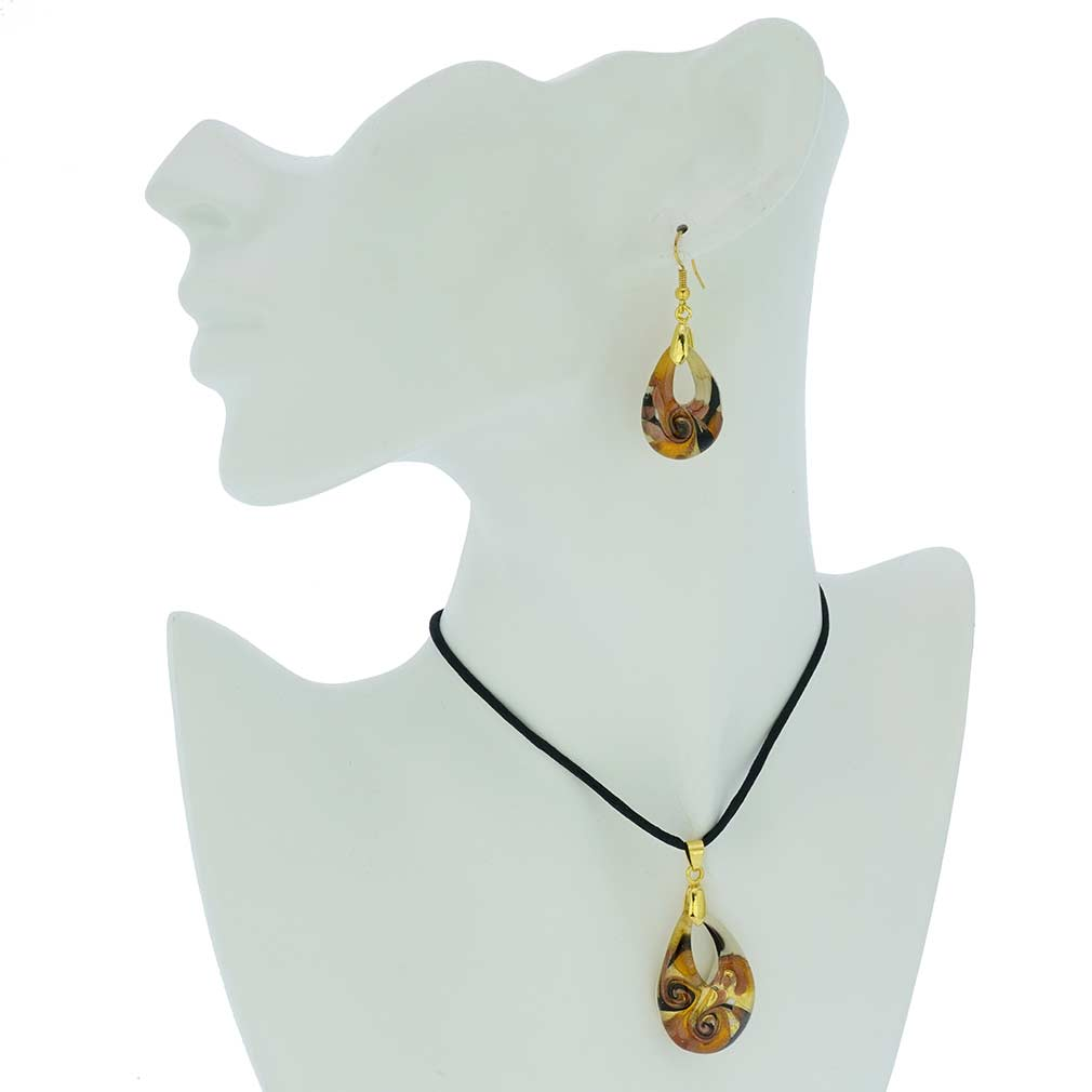 Gemma Murano Glass Necklace and Earrings Set - Golden Brown
