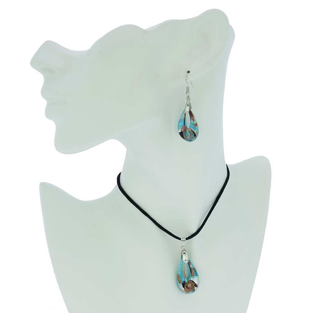 Gemma Murano Glass Necklace and Earrings Set - Aquamarine