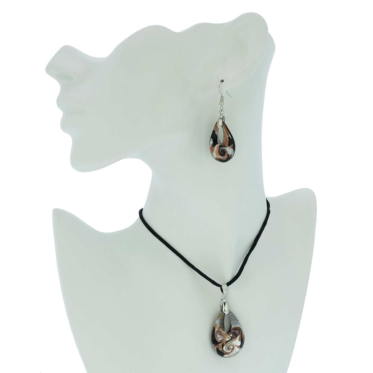 Blown Glass Lampwork Murano Pendant Black, Silver and Copper Necklace and Earrings Set