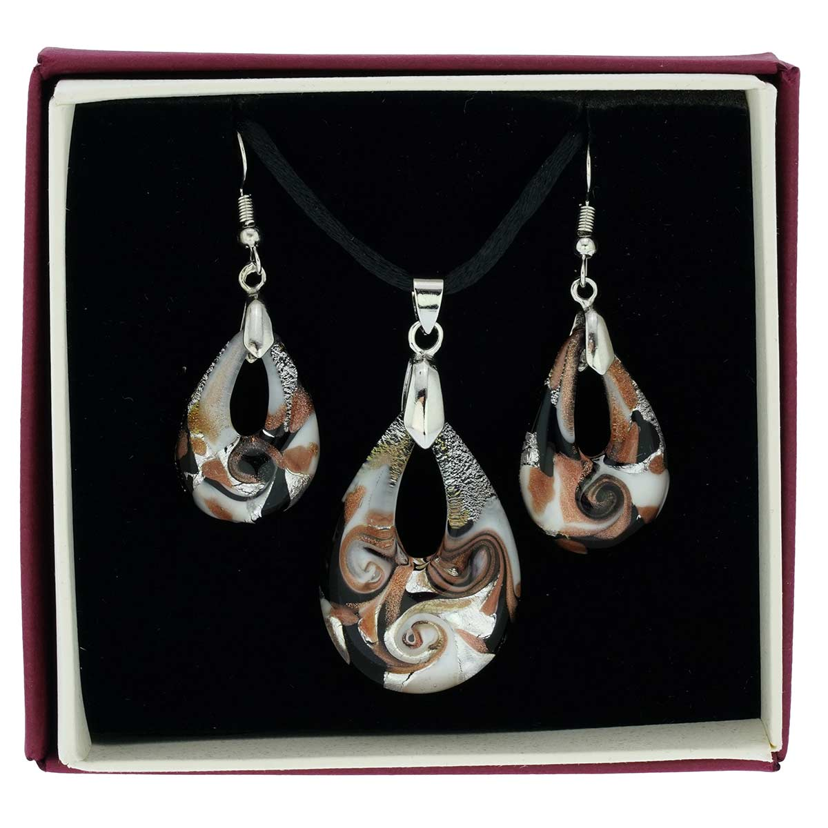 Gemma Murano Glass Necklace and Earrings Set - Black
