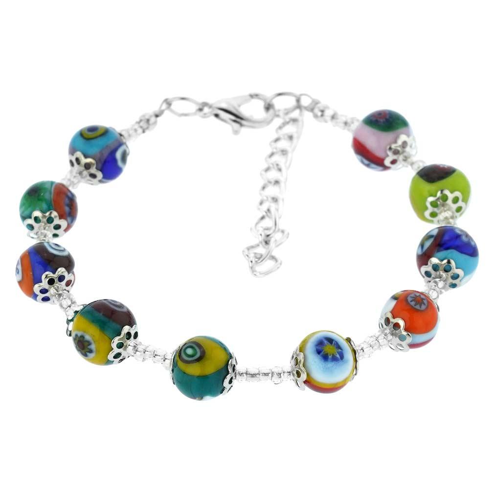 Murano Mosaic Bracelet - Silver Multicolor