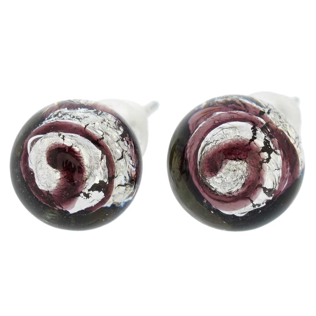 Murano Ball Stud Earrings - Black Swirl