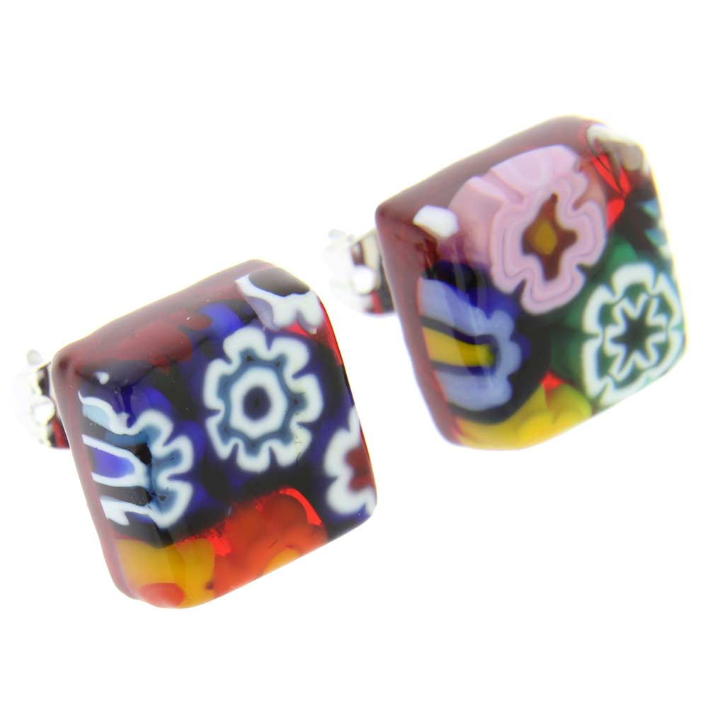 Murano Glass Millefiori Jewelry Set - Red Stripe