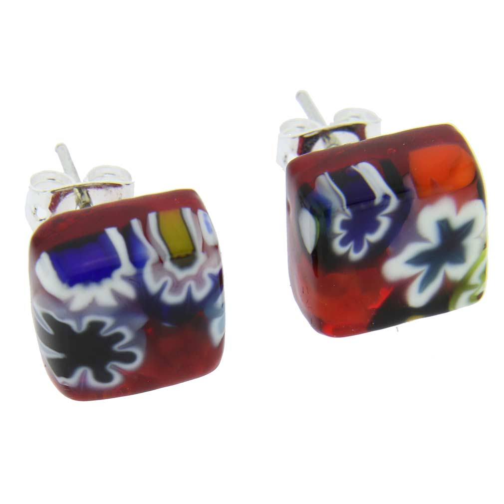 Murano Glass Millefiori Necklace and Earrings Set - Blue Stripe