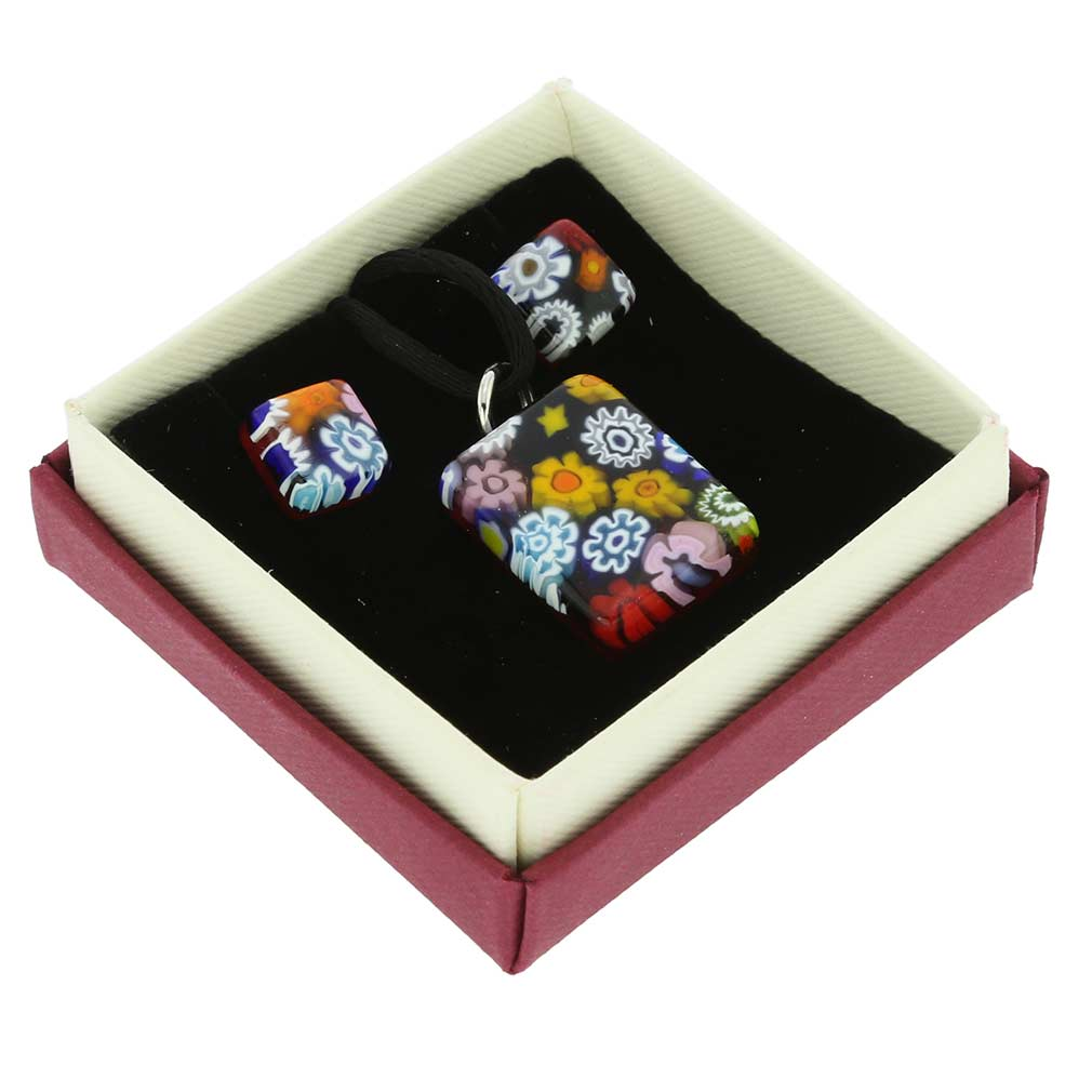 Murano Glass Millefiori Jewelry Set - Rectangular