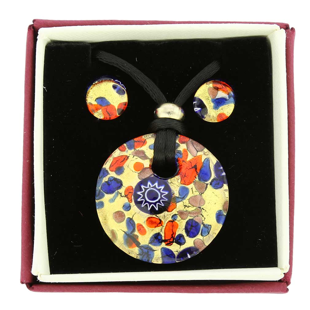 Venetian Reflections Round Necklace and Earrings Set - Blue Red
