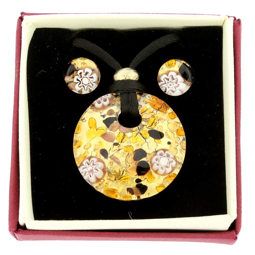 Venetian Reflections Round Jewelry Set - Topaz Gold