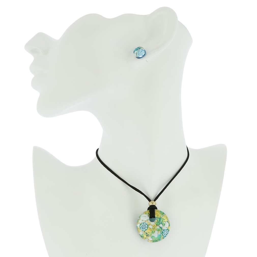 Venetian Reflections Round Jewelry Set - Aqua Gold