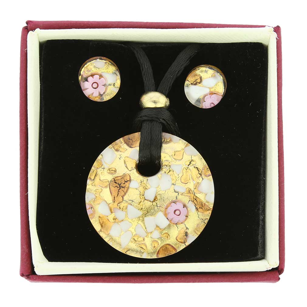 Venetian Reflections Round Jewelry Set - Purple Gold