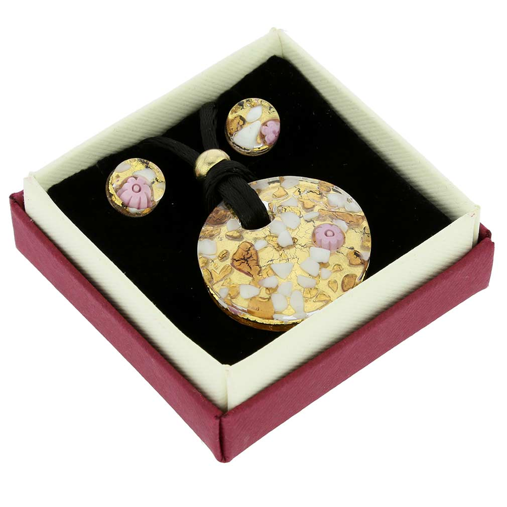 Venetian Reflections Round Necklace and Earrings Set - Purple Gold