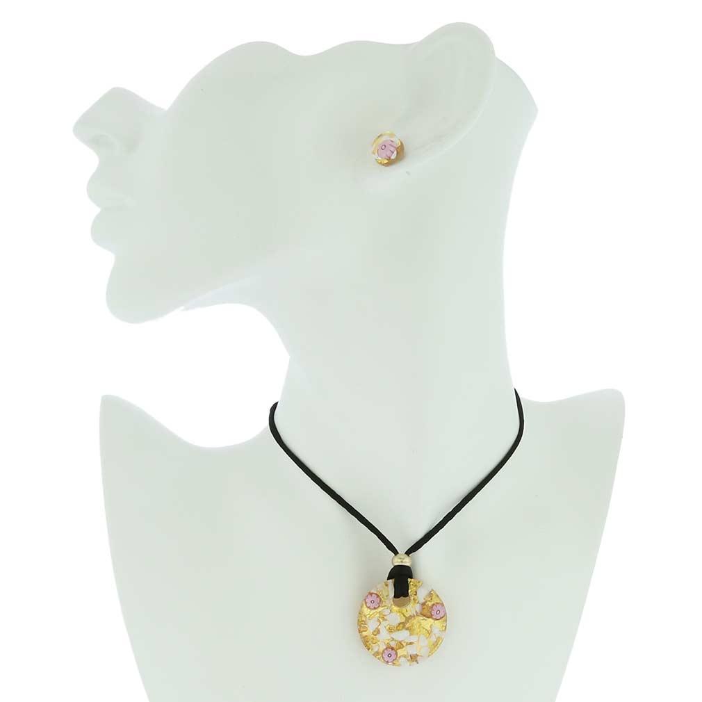 Venetian Reflections Round Jewelry Set - Purple Gold