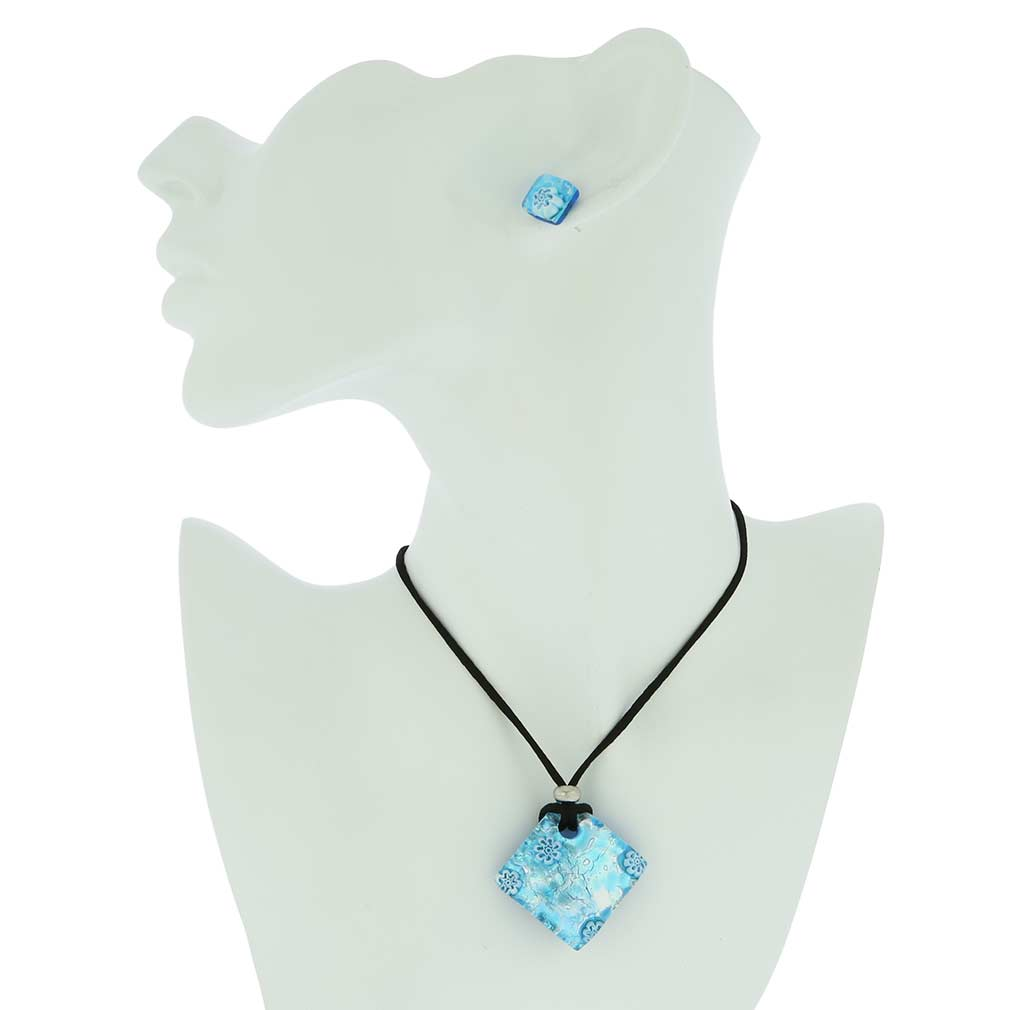 Venetian Reflections Necklace and Earrings Set - Aqua Silver