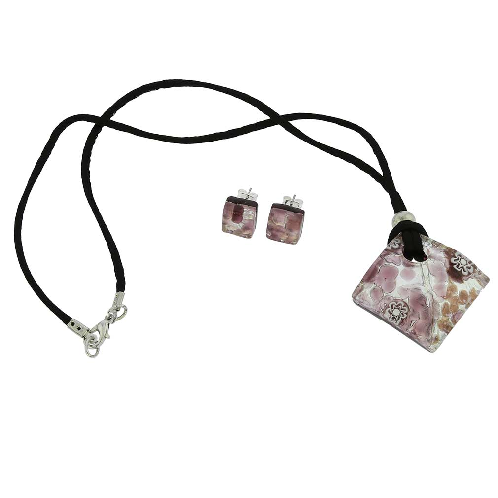 Venetian Reflections Necklace and Earrings Set - Purple Silver