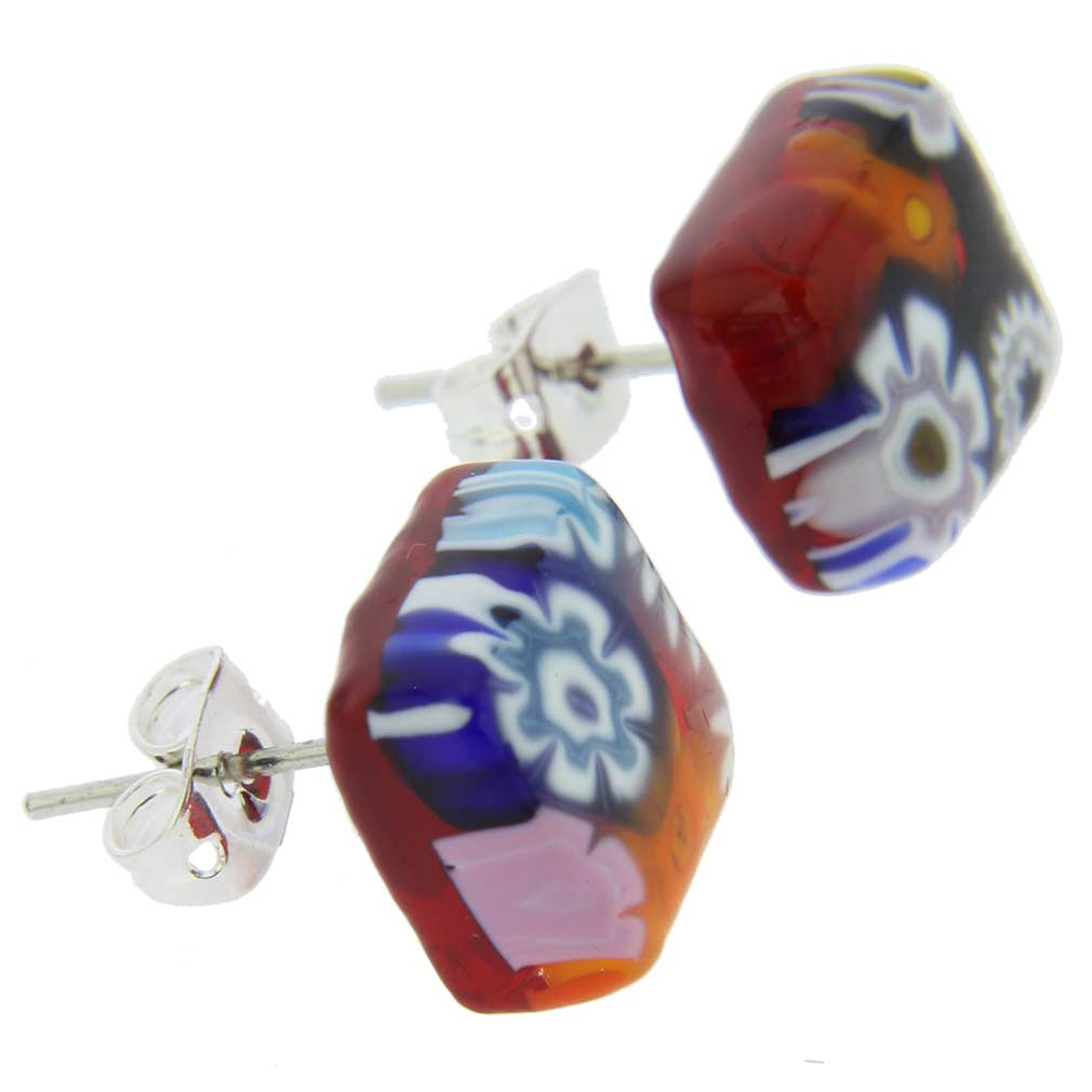 Murano Glass Millefiori Necklace and Earrings Set - Diamond