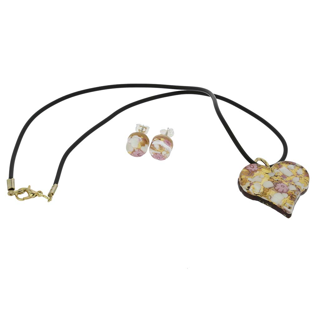 Venetian Reflections Heart Necklace and Earrings Set - Purple Gold