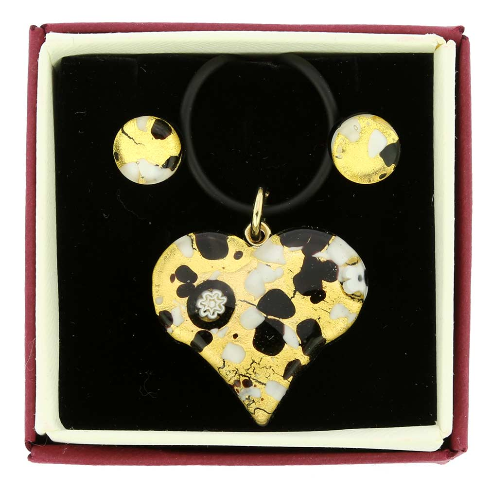 Venetian Reflections Heart Jewelry Set - Black Gold