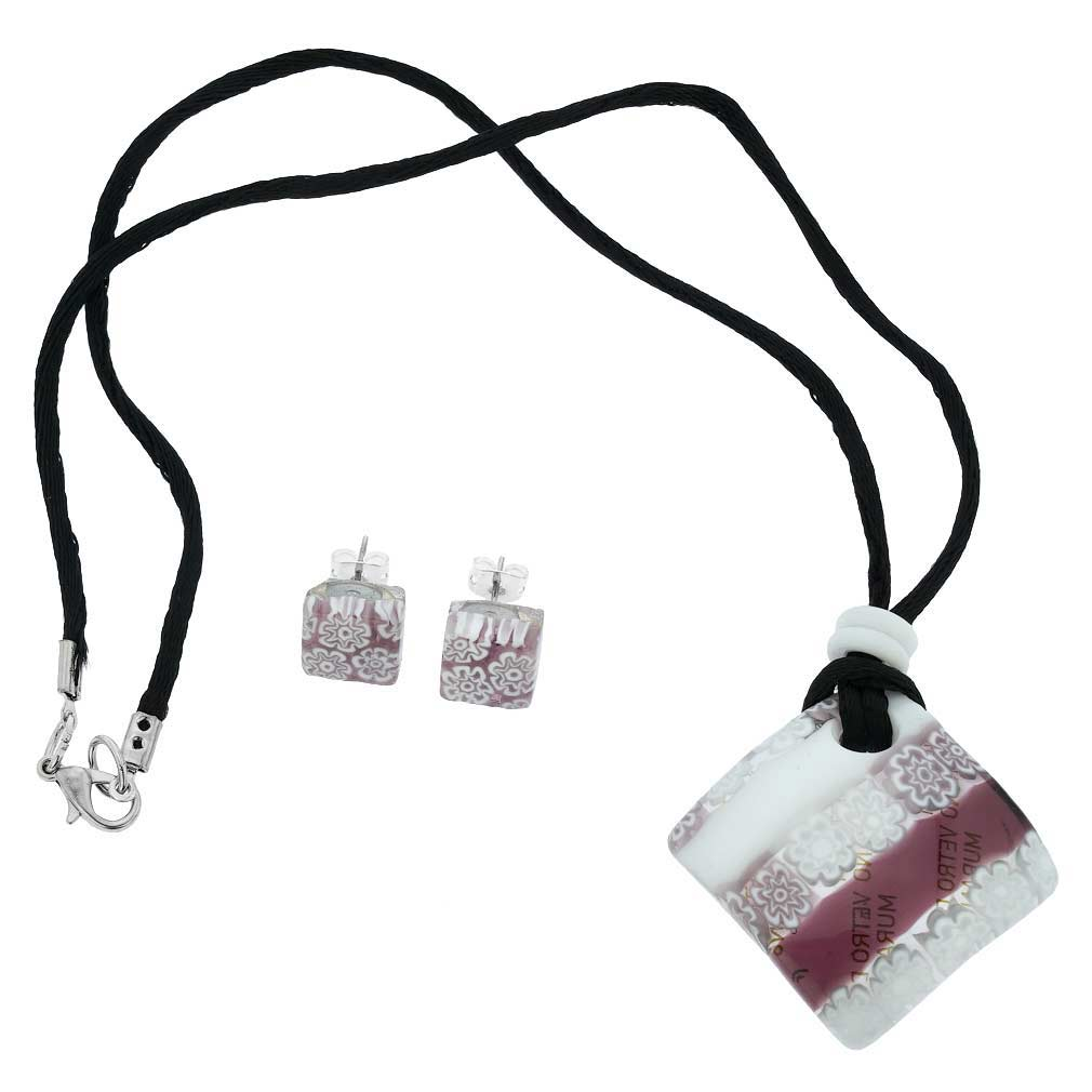Murano Glass Millefiori Necklace and Earrings Set - White and Purple