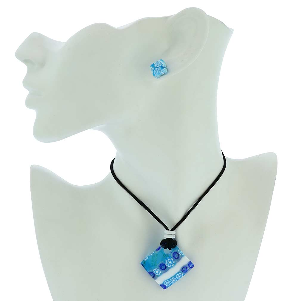 Murano Glass Millefiori Necklace and Earrings Set - White and Blue
