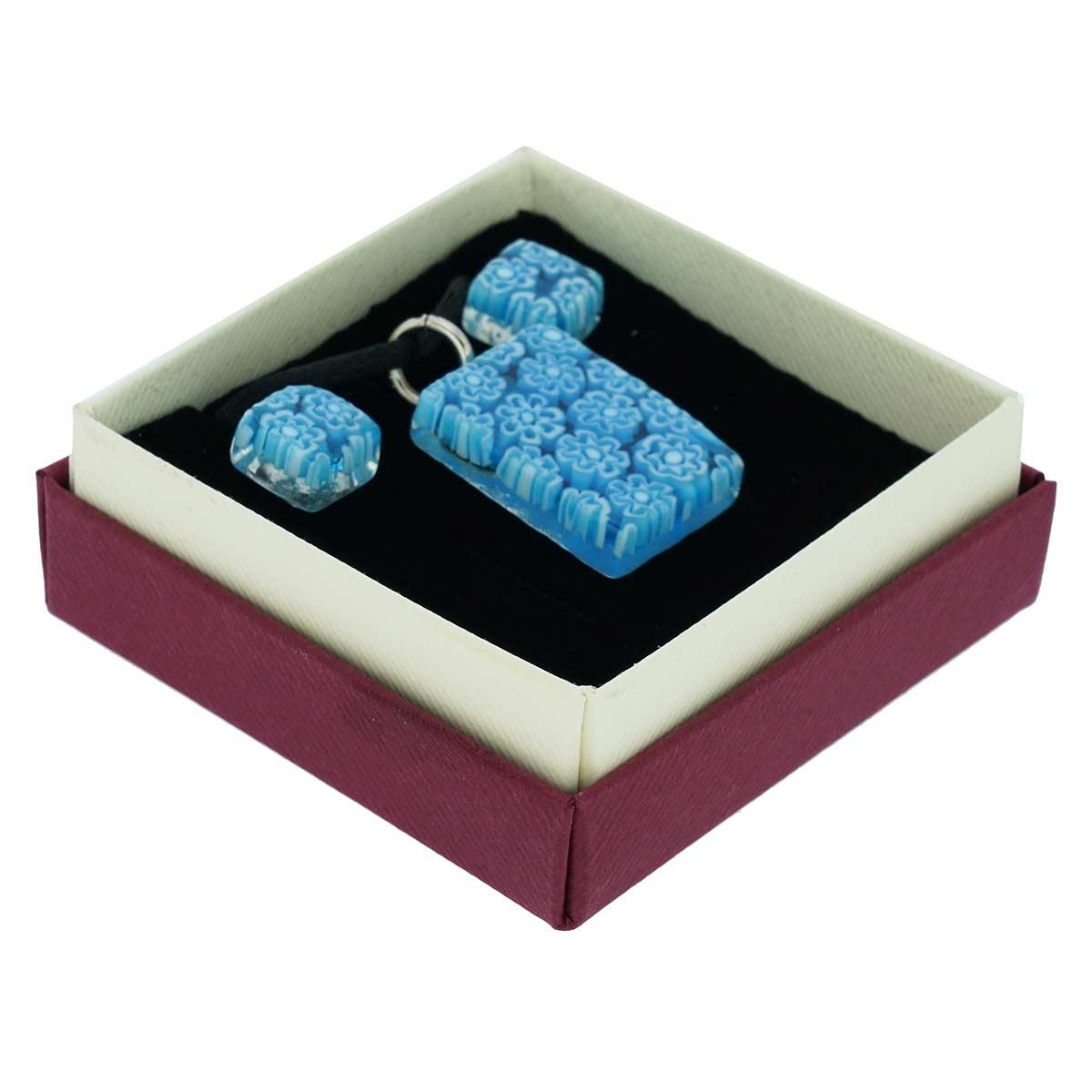 Murano Glass Millefiori Necklace and Earrings Set - Aqua Blue