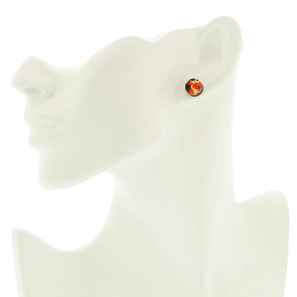 Venetian Reflections Round Stud Earrings - Black Red
