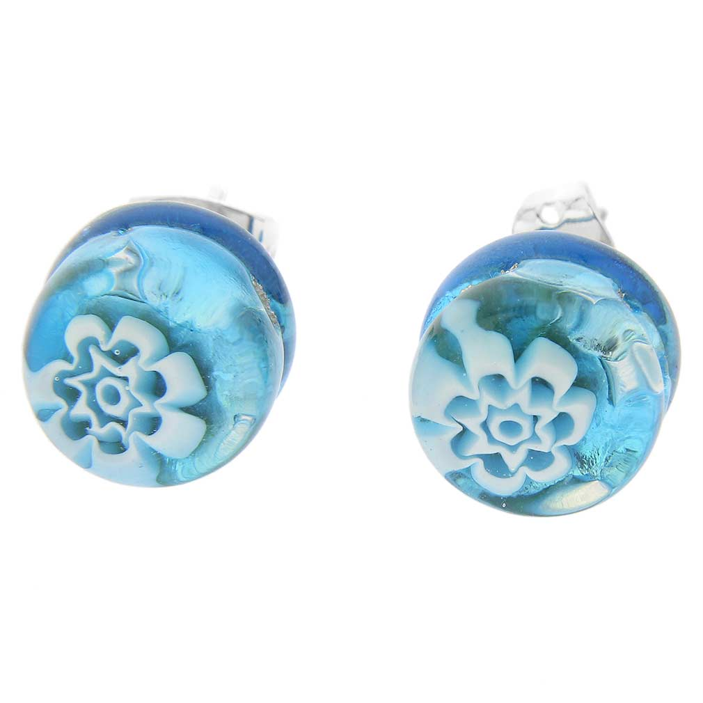 Venetian Reflections Round Stud Earrings - Aqua Silver