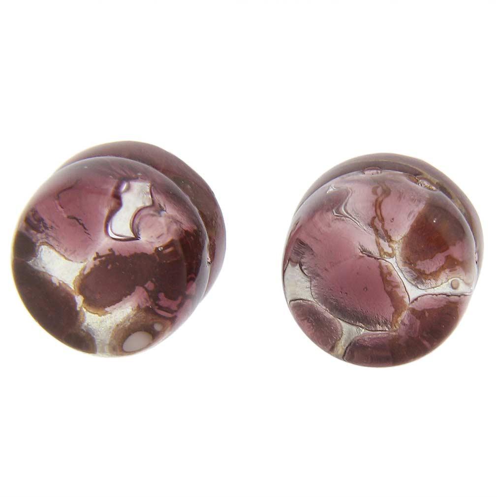 Venetian Reflections Round Stud Earrings - Purple Silver