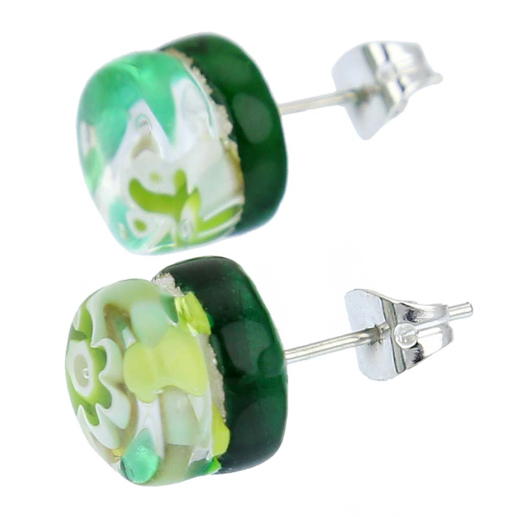 Venetian Reflections Round Stud Earrings - Green Silver