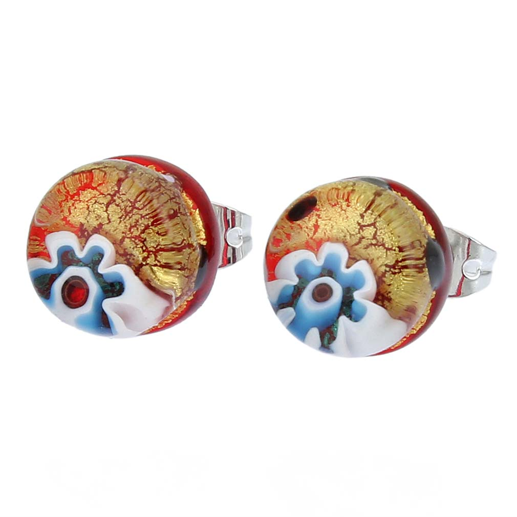 Venetian Reflections Round Stud Earrings - Gold Millefiori