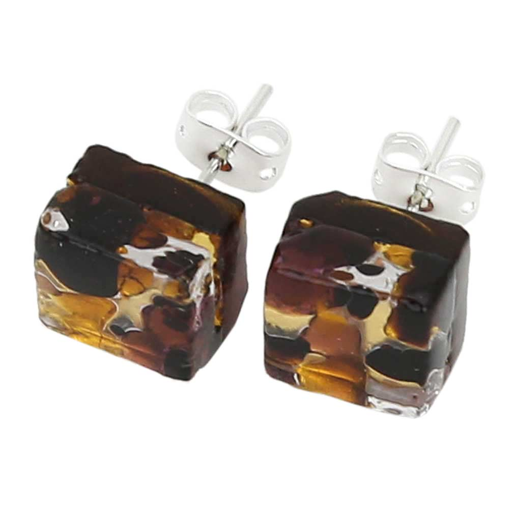 Venetian Reflections Square Stud Earrings - Topaz Gold